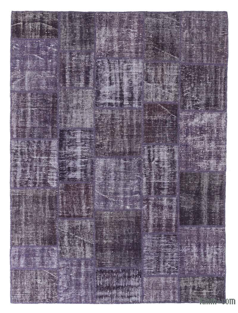 """Purple Patchwork Hand-Knotted Turkish Rug - 5' 11"""" x 8'  (71 in. x 96 in.) - K0018793"""