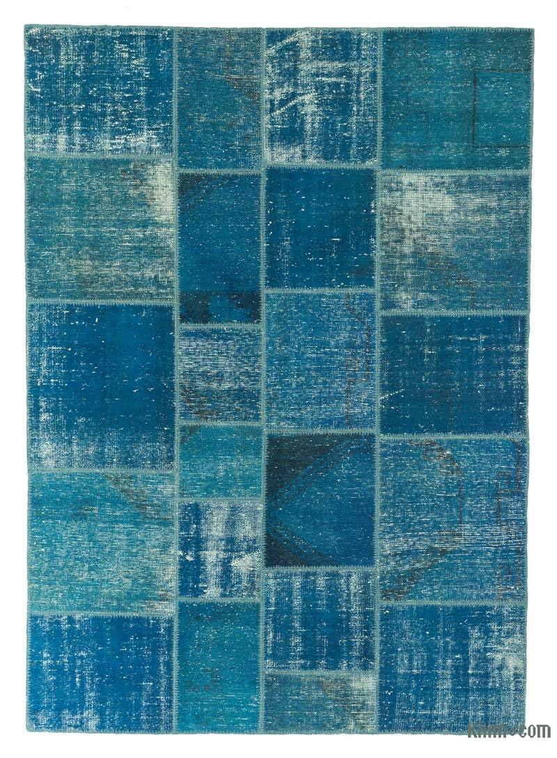 """Aqua Patchwork Hand-Knotted Turkish Rug - 5' 9"""" x 8'  (69 in. x 96 in.) - K0018796"""
