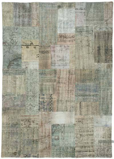 "Over-dyed Turkish Patchwork Rug - 5' 8"" x 7' 11"" (68 in. x 95 in.)"
