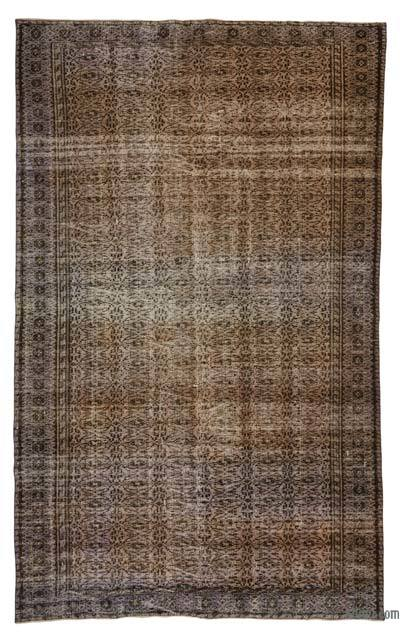 "Purple, Brown Over-dyed Turkish Vintage Rug - 5' 10"" x 9' 7"" (70 in. x 115 in.)"