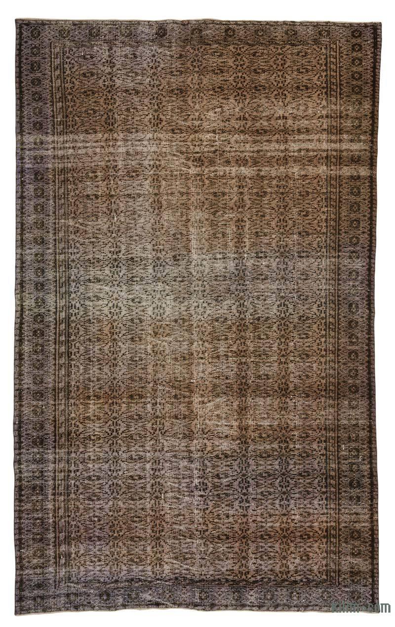 Mor, Kahverengi El Dokuma Vintage Halı - 177 cm x 293 cm - K0019398