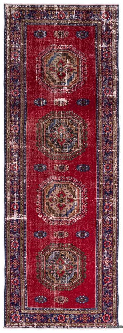 """Red Vintage Turkish Hand-Knotted Rug - 4' 7"""" x 12' 9"""" (55 in. x 153 in.)"""
