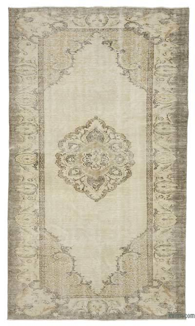 "Beige Over-dyed Turkish Vintage Rug - 5' 8"" x 9' 11"" (68 in. x 119 in.)"