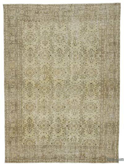 "Beige Over-dyed Turkish Vintage Rug - 6' 11"" x 9' 7"" (83 in. x 115 in.)"