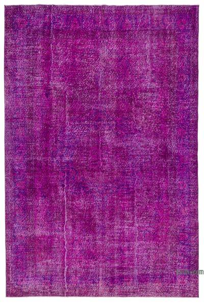 "Fuchsia Over-dyed Turkish Vintage Rug - 6' 8"" x 10' 2"" (80 in. x 122 in.)"