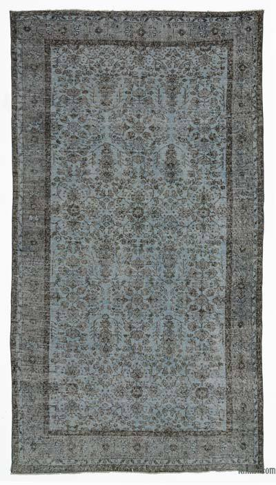 """Blue Over-dyed Turkish Vintage Rug - 5' 6"""" x 9' 11"""" (66 in. x 119 in.)"""