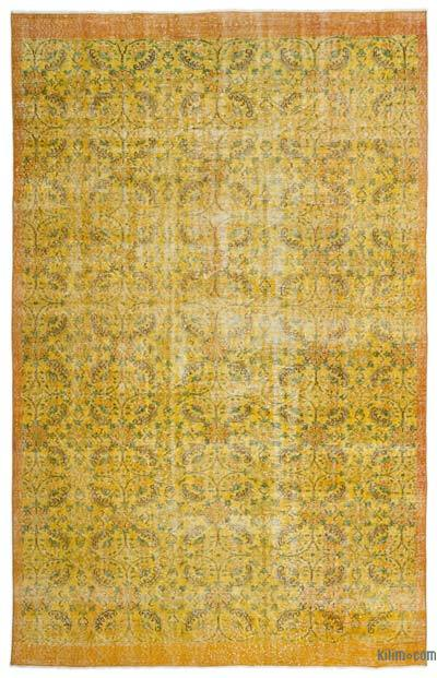 """Over-dyed Turkish Vintage Rug - 6' 8"""" x 10' 4"""" (80 in. x 124 in.)"""