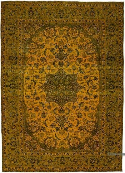 "Yellow Over-dyed Vintage Hand-knotted Oriental Rug - 9' 7"" x 13' 9"" (115 in. x 165 in.)"