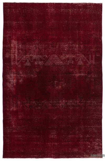 """Red Over-dyed Vintage Hand-knotted Oriental Rug - 8' 10"""" x 13' 3"""" (106 in. x 159 in.)"""