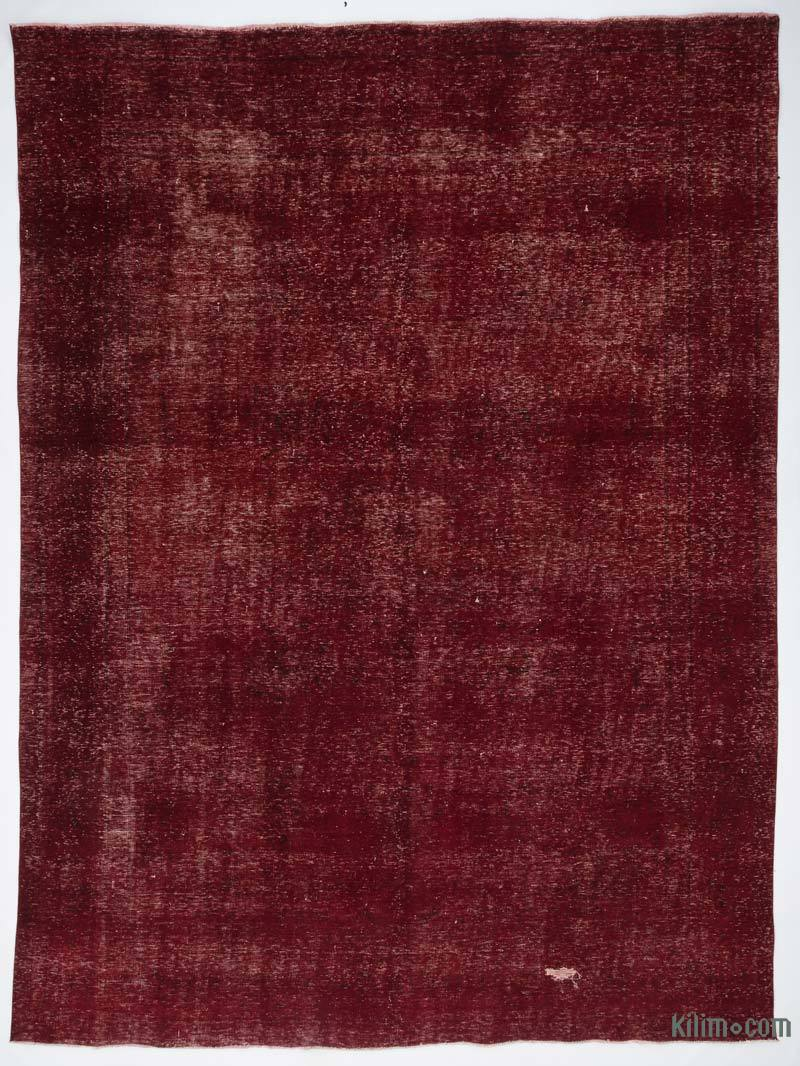 """Red Over-dyed Vintage Hand-Knotted Oriental Rug - 9' 4"""" x 12' 8"""" (112 in. x 152 in.) - K0020108"""