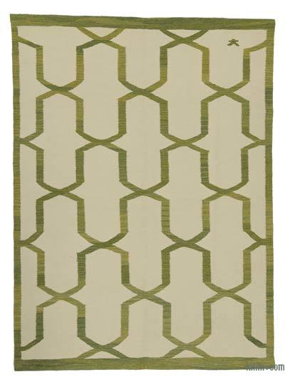 "Beige, Green New Handwoven Turkish Kilim Rug - 5' 8"" x 7' 7"" (68 in. x 91 in.)"