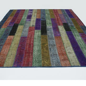 """Multicolor Patchwork Hand-Knotted Turkish Rug - 8' 1"""" x 10'  (97 in. x 120 in.) - K0020190"""