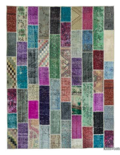 "Over-dyed Turkish Patchwork Rug - 6'2"" x 8'1"" (74 in. x 97 in.)"