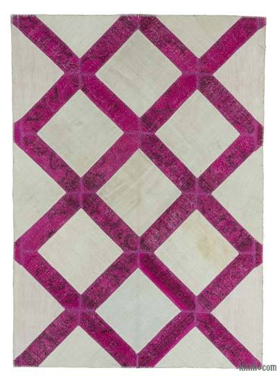 "Over-dyed Turkish Patchwork Rug - 5' 8"" x 8'  (68 in. x 96 in.)"