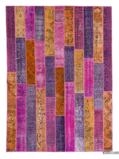 "Over-dyed Turkish Patchwork Rug - 5' 9"" x 8'  (69 in. x 96 in.)"