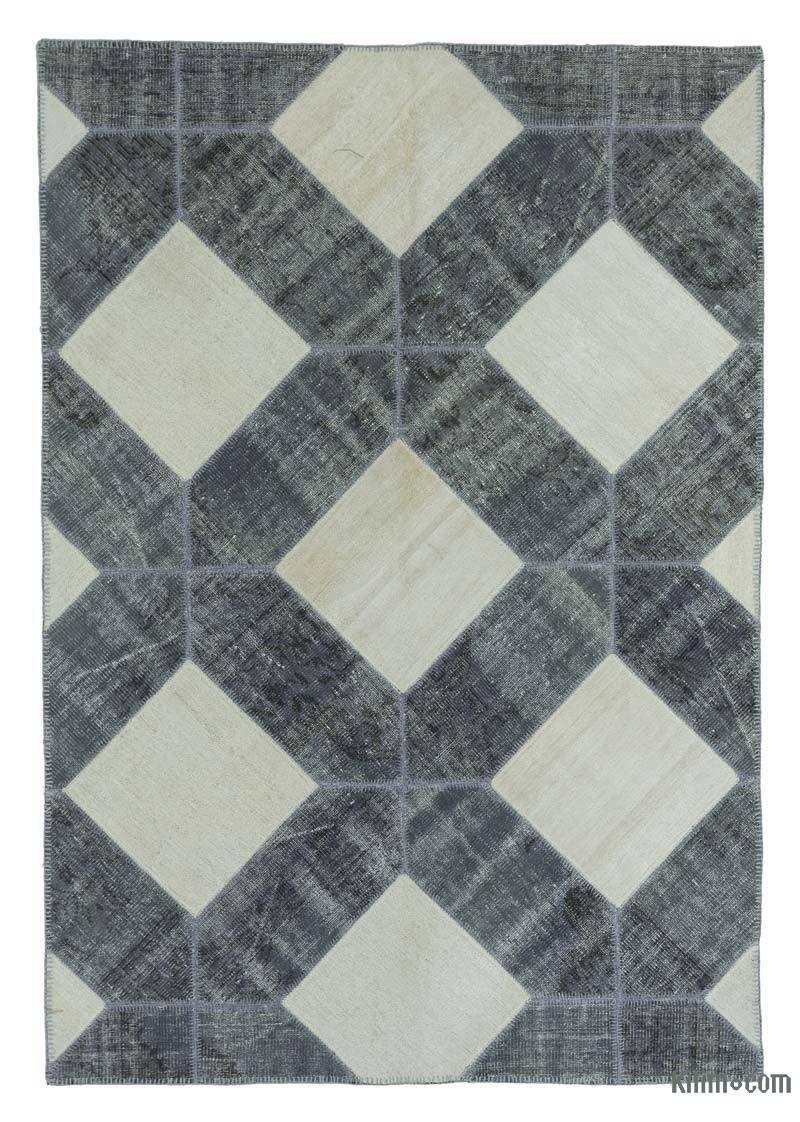 "Beige, Grey Patchwork Hand-Knotted Turkish Rug - 5' 6"" x 7' 11"" (66 in. x 95 in.) - K0020251"
