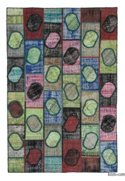 "Over-dyed Turkish Patchwork Rug - 5'1"" x 8'1"" (61 in. x 97 in.)"