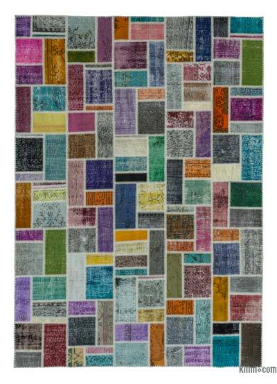 "Over-dyed Turkish Patchwork Rug - 6'11"" x 9'9"" (83 in. x 117 in.)"