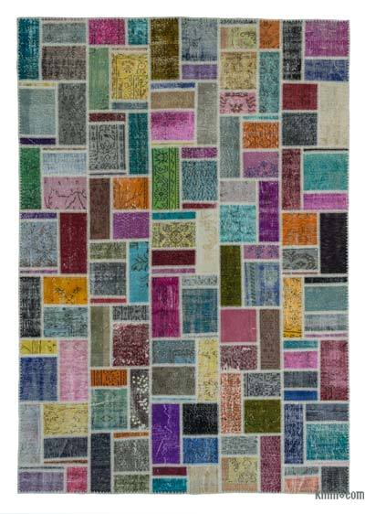 "Over-dyed Turkish Patchwork Rug - 6' 9"" x 9' 9"" (81 in. x 117 in.)"