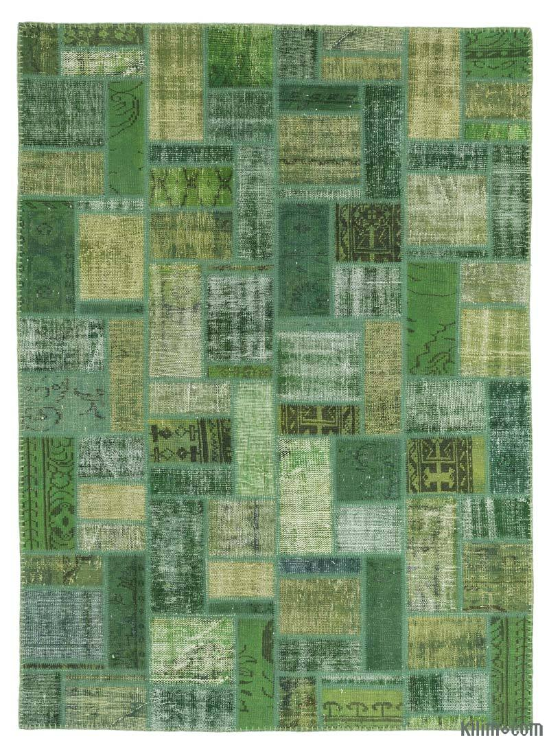 """Green Patchwork Hand-Knotted Turkish Rug - 5' 8"""" x 7' 10"""" (68 in. x 94 in.) - K0020263"""