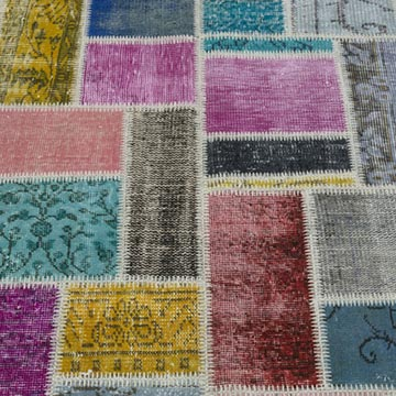 """Multicolor Patchwork Hand-Knotted Turkish Rug - 5' 9"""" x 7' 9"""" (69 in. x 93 in.) - K0020265"""