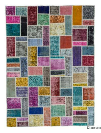 "Over-dyed Turkish Patchwork Rug - 5'9"" x 7'9"" (69 in. x 93 in.)"