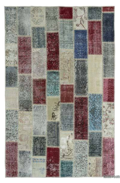 "Over-dyed Turkish Patchwork Rug - 4'10"" x 7'7"" (58 in. x 91 in.)"
