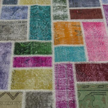 """Multicolor Patchwork Hand-Knotted Turkish Rug - 5' 8"""" x 7' 10"""" (68 in. x 94 in.) - K0020276"""