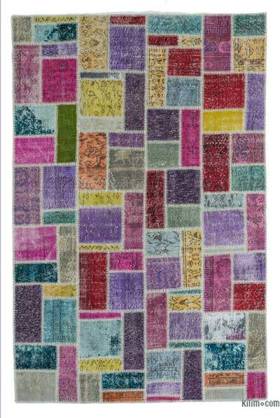 "Over-dyed Turkish Patchwork Rug - 5' 6"" x 8' 5"" (66 in. x 101 in.)"