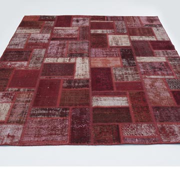 """Red Patchwork Hand-Knotted Turkish Rug - 5' 8"""" x 7' 10"""" (68 in. x 94 in.) - K0020280"""