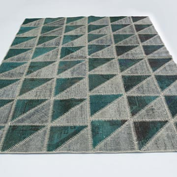 """Grey Patchwork Hand-Knotted Turkish Rug - 5' 9"""" x 8'  (69 in. x 96 in.) - K0020282"""
