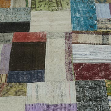 """Multicolor Patchwork Hand-Knotted Turkish Rug - 5' 8"""" x 7' 10"""" (68 in. x 94 in.) - K0020297"""
