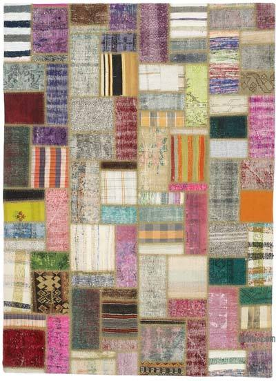 "Turkish Chaput Patchwork Rug - 5' 7"" x 7' 7"" (67 in. x 91 in.)"