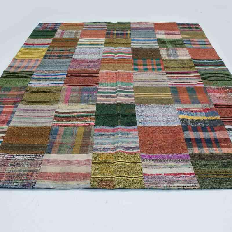 """Green, Multicolor Patchwork Kilim Rug - 6' 10"""" x 9' 11"""" (82 in. x 119 in.) - K0020303"""