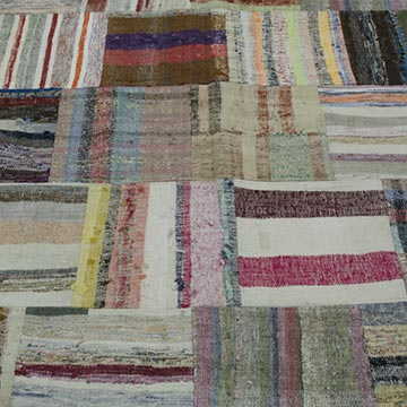 """Multicolor Patchwork Kilim Rug - 6' 8"""" x 10'  (80 in. x 120 in.) - K0020305"""