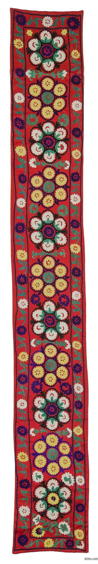 """Vintage Uzbek Suzani - 1' 11"""" x 13' 8"""" (23 in. x 164 in.)"""
