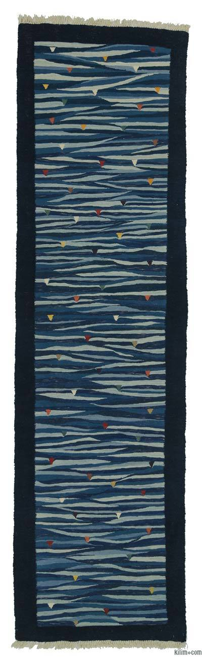 "Blue New Turkish Kilim Runner - 2' 11"" x 10' 8"" (35 in. x 128 in.)"