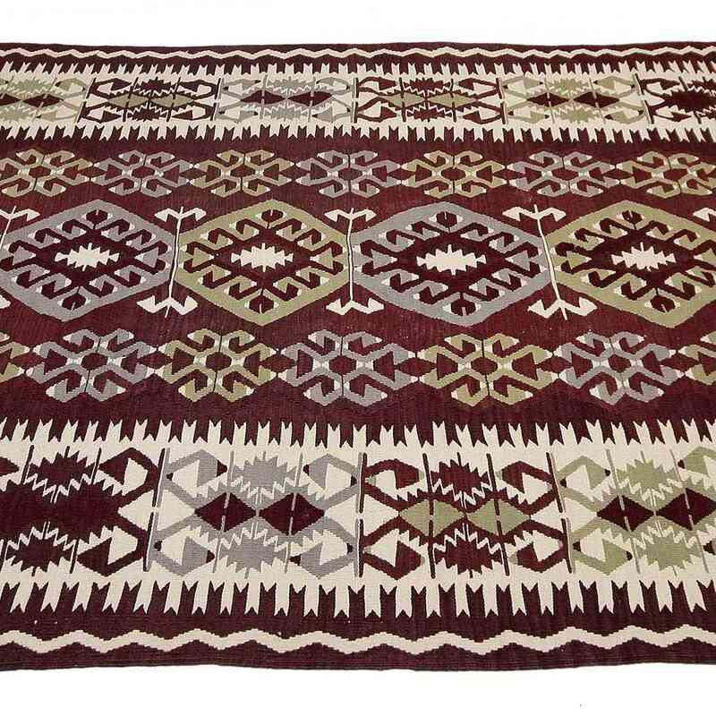 """Purple Vintage Antalya Kilim Rug - 5' 4"""" x 12' 4"""" (64 in. x 148 in.) - K0020697"""