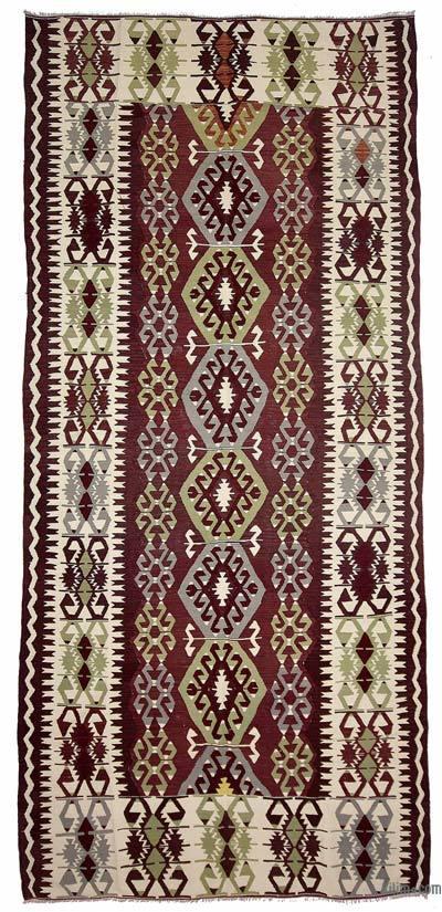 """Vintage Antalya Kilim Rug - 5'4"""" x 12'4"""" (64 in. x 148 in.)"""