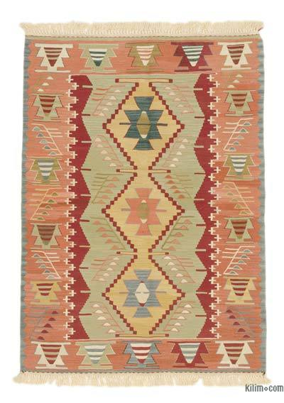 "Orange, Green New Handwoven Turkish Kilim Rug - 3' 4"" x 4' 7"" (40 in. x 55 in.)"