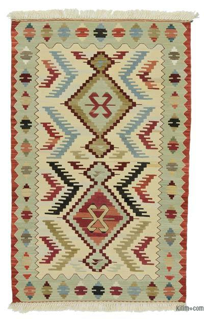 "New Handwoven Turkish Kilim Rug - 3' 1"" x 4' 11"" (37 in. x 59 in.)"