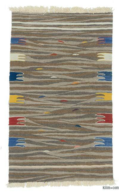 "Brown New Handwoven Turkish Kilim Rug - 2' 6"" x 4'  (30 in. x 48 in.)"