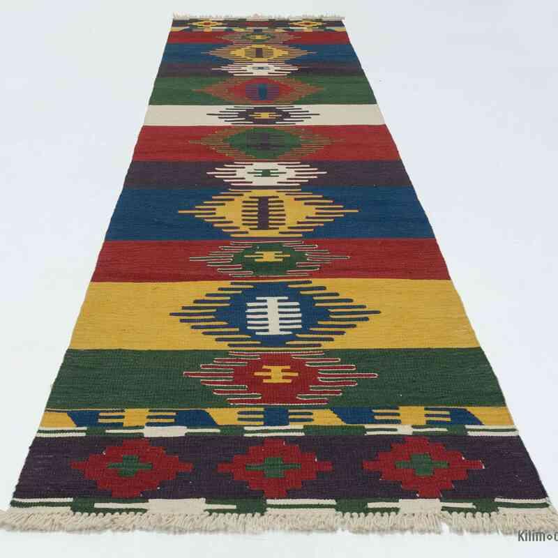 Çok Renkli Yeni Kök Boya Yolluk Kilim - 80 cm x 329 cm - K0020782
