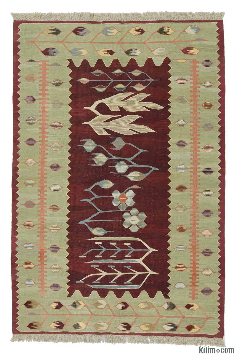 """Red, Green New Handwoven Turkish Kilim Rug - 4'  x 5' 11"""" (48 in. x 71 in.) - K0020798"""