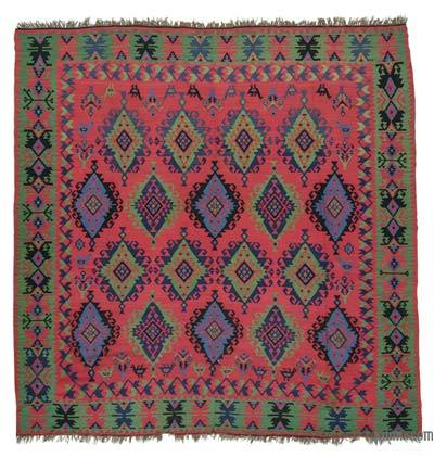 "Antique Bulgarian Kilim Rug - 9' 8"" x 9' 9"" (116 in. x 117 in.)"