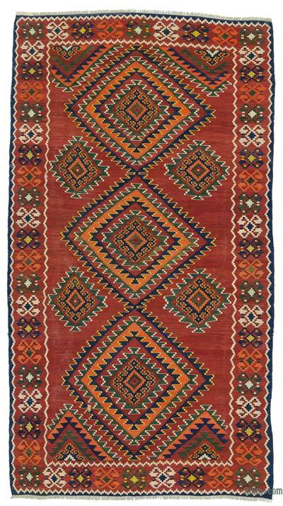 "Red Antique Shahsavan Kilim Rug - 5' 4"" x 9' 9"" (64 in. x 117 in.)"