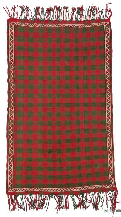 "Red, Green Vintage Caucasian Verneh Rug - 5' 5"" x 8' 11"" (65 in. x 107 in.)"