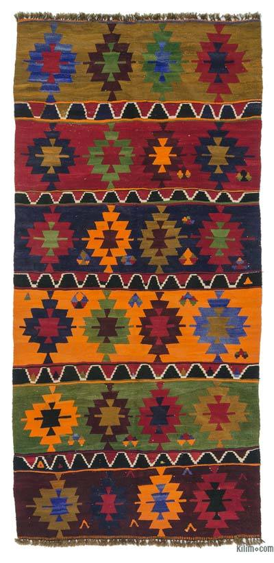 "Vintage Turkish Kilim Rug - 4'7"" x 10'1"" (55 in. x 121 in.)"