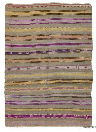 "Vintage Fethiye Kilim Rug - 5' 1"" x 6' 11"" (61 in. x 83 in.)"