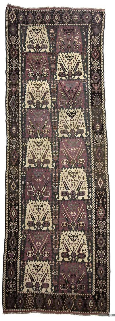 "Antique Kagizman Kilim Rug - 4' 4"" x 12' 10"" (52 in. x 154 in.)"